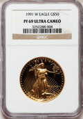 Modern Bullion Coins: , 1991-W G$50 One-Ounce Gold Eagle PR69 Ultra Cameo NGC. NGC Census:(1456/637). PCGS Population (2528/87). Mintage: 50,411. ...