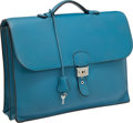 Luxury Accessories:Bags, Hermes Blue Jean Clemence Leather Sac a Depeches Briefcase withPalladium Hardware. ...