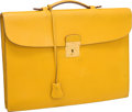 Luxury Accessories:Bags, Hermes Jaune Courchevel Leather Slim Briefcase with Gold Hardware....