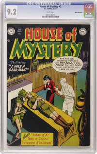 House of Mystery #2 White Mountain pedigree (DC, 1952) CGC NM- 9.2 White pages. When it comes to pre-Code horror books...