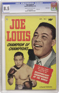 Golden Age (1938-1955):Non-Fiction, Joe Louis #1 Crowley Copy pedigree (Fawcett, 1950) CGC VF+ 8.5Cream to off-white pages. This issue features the life story ...