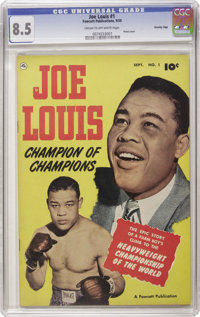 Joe Louis #1 Crowley Copy pedigree (Fawcett, 1950) CGC VF+ 8.5 Cream to off-white pages. This issue features the life st...