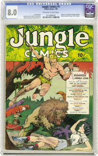 Jungle Comics #1 (Fiction House, 1940) CGC VF 8.0 Off-white to white pages. This long-running title was started off in g...