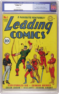 Leading Comics #1 (DC, 1941) CGC VF/NM 9.0 Off-white pages. DC's other superhero team debuts with this opening number. C...