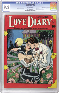 """Love Diary #1 Davis Crippen (""""D"""" Copy) pedigree (Quality, 1949) CGC NM- 9.2 Off-white pages. Bill Ward rendere..."""