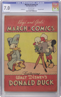 March of Comics #nn (#4) Donald Duck (K. K. Publications, Inc., 1947) CGC FN/VF 7.0 Off-white pages. This scarce giveawa...