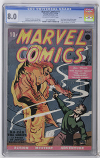 Marvel Comics #1 Larson pedigree (Timely, 1939) CGC VF 8.0 Off-white to white pages. The combination of one of the top t...