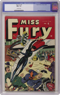 Miss Fury #6 (Timely, 1945) CGC NM+ 9.6 Off-white pages. Miss Fury swings into action on this Alex Schomburg cover, bust...