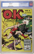 Golden Age (1938-1955):Superhero, O.K. Comics #2 Mile High pedigree (United Features Syndicate, 1940) CGC NM 9.4 Off-white to white pages. We haven't seen thi...