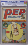 """Golden Age (1938-1955):Humor, Pep Comics #50 Davis Crippen (""""D"""" Copy) pedigree (MLJ, 1944) CGC VF+ 8.5 Off-white to white pages. We hate to sound like bro..."""