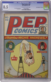 "Pep Comics #50 Davis Crippen (""D"" Copy) pedigree (MLJ, 1944) CGC VF+ 8.5 Off-white to white pages. We hate to..."