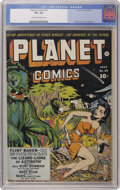 Golden Age (1938-1955):Science Fiction, Planet Comics #25 (Fiction House, 1943) CGC VF+ 8.5 Cream tooff-white pages. This was the last cover from Dan Zolnerowich, ...