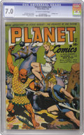 Golden Age (1938-1955):Science Fiction, Planet Comics #28 (Fiction House, 1944) CGC FN/VF 7.0 Off-white towhite pages. This issue's bondage cover by Joe Doolin sta...