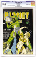 "Golden Age (1938-1955):Science Fiction, Planet Comics #36 Davis Crippen (""D"" Copy) pedigree (Fiction House,1945) CGC VF/NM 9.0 Off-white pages. The spine of this b..."