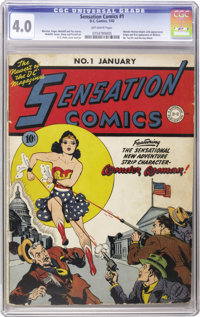 Sensation Comics #1 (DC, 1942) CGC VG 4.0 Off-white pages. This excellent original-owner copy is considered by Overstree...
