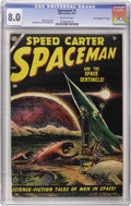 "Golden Age (1938-1955):Science Fiction, Spaceman #1 Davis Crippen (""D"" Copy) pedigree (Atlas, 1953) CGC VF8.0 Off-white pages. Bill Everett's grey tone cover is pl..."