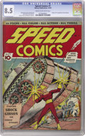 Golden Age (1938-1955):Superhero, Speed Comics #1 (Brookwood, 1939) CGC VF+ 8.5 Cream to off-white pages. Shock Gibson was one of the few early Golden Age her...