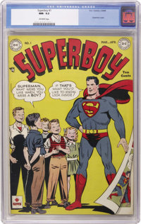 Superboy #1 (DC, 1949) CGC NM- 9.2 Off-white pages. A thirty-year run began here for this enduring series which remained...