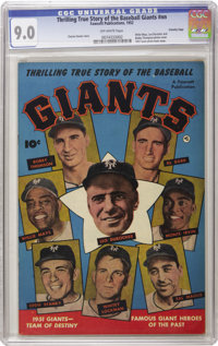 Thrilling True Story of the Baseball Giants #nn Crowley Copy pedigree (Fawcett, 1952) CGC VF/NM 9.0 Off-white pages. Wil...