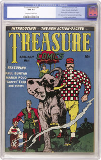 Treasure Comics #1 Mile High pedigree (Prize, 1945) CGC NM 9.4 Off-white to white pages. Paul Bunyan would seem to be id...