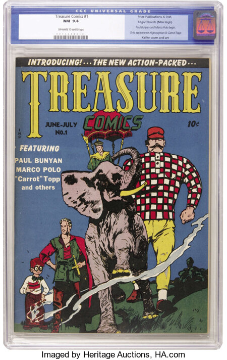 Treasure Comics #1 Mile High pedigree (Prize, 1945) CGC NM 9.4 Off-white to white pages. Paul Bunyan would seem to be ideal ...