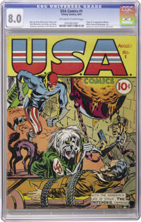 USA Comics #1 (Timely, 1941) CGC VF 8.0 Off-white to white pages. One of the top 20 Timely books, this issue stands out...
