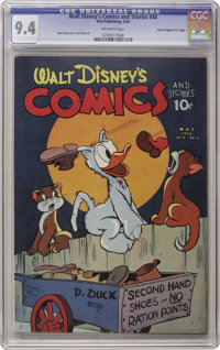 "Walt Disney's Comics and Stories #44 Davis Crippen (""D"" Copy) pedigree (Dell, 1944) CGC NM 9.4 Off-white pages..."