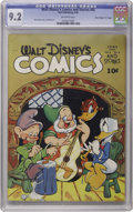 """Golden Age (1938-1955):Cartoon Character, Walt Disney's Comics and Stories #45 Davis Crippen (""""D"""" Copy) pedigree (Dell, 1944) CGC NM- 9.2 Off-white pages. Nazis appea..."""