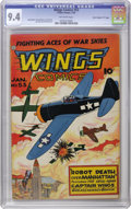 """Golden Age (1938-1955):War, Wings Comics #53 Davis Crippen (""""D"""" Copy) pedigree (Fiction House,1945) CGC NM 9.4 Off-white pages. One of our favorites of..."""