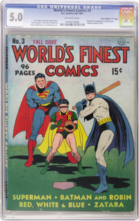 """World's Finest Comics #3 Davis Crippen (""""D"""" Copy) pedigree (DC, 1941) CGC VG/FN 5.0 Off-white to white pages..."""