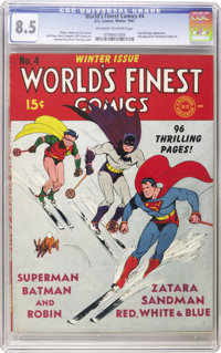 World's Finest Comics #4 (DC, 1941) CGC VF+ 8.5 Off-white to white pages. Yes, this cost a nickel more than other comics...