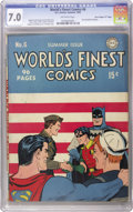 """Golden Age (1938-1955):Superhero, World's Finest Comics #6 Davis Crippen (""""D"""" Copy) pedigree (DC, 1942) CGC FN/VF 7.0 Off-white pages. If you want proof that ..."""