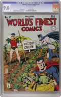 Golden Age (1938-1955):Superhero, World's Finest Comics #11 (DC, 1943) CGC VF/NM 9.0 White pages. This newly certified specimen is tied with the Rockford copy...