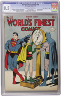 """Golden Age (1938-1955):Superhero, World's Finest Comics #20 """"D"""" Copy pedigree (DC, 1945) CGC VF+ 8.5 Cream to off-white pages. As hard as these square bound b..."""