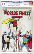 """Golden Age (1938-1955):Superhero, World's Finest Comics #26 Davis Crippen (""""D"""" Copy) pedigree (DC, 1947) CGC VF 8.0 Off-white to white pages. In addition to S..."""