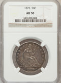 Seated Half Dollars: , 1875 50C AU50 NGC. NGC Census: (9/242). PCGS Population (18/261).Mintage: 6,027,500. Numismedia Wsl. Price for problem fre...