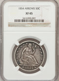 Seated Half Dollars: , 1854 50C Arrows XF45 NGC. NGC Census: (27/294). PCGS Population(52/258). Mintage: 2,982,000. Numismedia Wsl. Price for pro...
