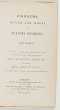 Books:Religion & Theology, Francis Quarles. Emblems, Divine and Moral. London: John Bennet, 1839. New edition. Octavo in sixes. viii, 124, 114 ...