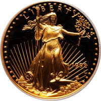 1992-W G$50 One-Ounce Gold Eagle PR70 Deep Cameo PCGS. PCGS Population (105). NGC Census: (489). Mintage: 44,826. Numism...