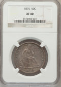 Seated Half Dollars: , 1875 50C XF40 NGC. NGC Census: (9/262). PCGS Population (10/305).Mintage: 6,027,500. Numismedia Wsl. Price for problem fre...