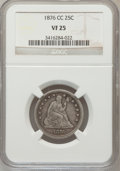 Seated Quarters: , 1876-CC 25C VF25 NGC. NGC Census: (9/230). PCGS Population (11/293). Mintage: 4,944,000. Numismedia Wsl. Price for problem ...