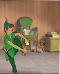 "Animation Art:Animation Art, ""Peter Pan"" Production Cel and Background Original Art (WaltDisney, 1953). Peter Pan takes some soap to his boot, in this s..."
