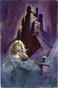 Original Comic Art:Covers, Luis Dominguez - Romance Cover Painting Original Art (undated). Abeautiful, buxom blonde flees in terror from a foreboding ...