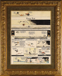 George Herriman - Krazy Kat Hand Colored, Full-Page Saturday Comic Strip Original Art, dated 2-25-22 (King Features Synd...