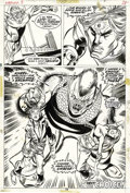 Original Comic Art:Splash Pages, Gil Kane and Tom Sutton - Warlock #3, page 28 Original Art (Marvel,1973). Holding hostages Eddie and Ellen Roberts in his h...