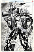 Original Comic Art:Splash Pages, Hoang Nguyen - The Punisher: War Zone #20, Splash page 1 OriginalArt (Marvel, 1993). Knock, knock! Frank Castle busts up a ...