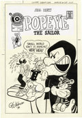 Original Comic Art:Covers, George Wildman - Popeye #129 Cover Original Art (Charlton, 1975).Popeye, Olive Oyl, and Swee'Pea find themselves in the gna...
