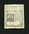 Colonial Notes:Connecticut, Connecticut October 11, 1777 5d Slash Cancel Gem New. A lightlyslash cancelled example of this small change note that has s...