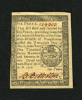 Colonial Notes:Pennsylvania, Pennsylvania April 10, 1777 6d Choice New. A boldly printed exampleof this small change denomination that has superb red pe...