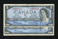 Canadian Currency: , BC-39b $5 1954 Modified Portrait.. Here are two examples that gradeFine.. ... (Total: 2 notes)